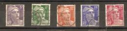 France - Marianne De Gandon - 883 à 887 -série Complete De 5 Timbres - 1945-54 Marianne De Gandon