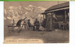 CPA-74-1916-CHAMONIX-CHALET DU BREVENT ET LE MONT-BLANC-ANIMEE-DES RANDONNEURS- - Chamonix-Mont-Blanc
