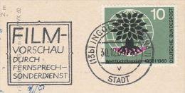 1960 Cover GERMANY SLOGAN Pmk FILM PREVIEW BY TELEPHONE DEPT Telecom Movie Stamps Card - Cinema