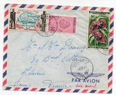 Lettre Du Tchad - Fort Lamy Pour Paris 1962 Avec 3 Timbres Dont 2 De La Poste Aérienne Oiseaux - Fondation D'Air Afrique - Tchad (1960-...)