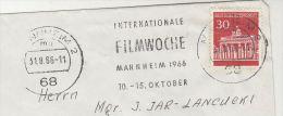 1966  GERMANY Stamps COVER SLOGAN Pmk MANNHEIM INTERNATIONAL FILM WEEK  Movie Cinema - Cinema