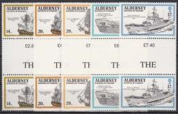 Alderney MiNr. 43/47 ** Kriegsschiffe Der Englischen Flotte Im Paar - Alderney