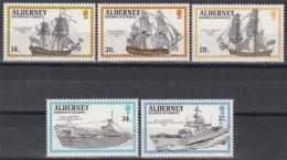 Alderney MiNr. 43/47 ** Kriegsschiffe Der Englischen Flotte - Alderney