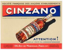 Carte Commerciale Publicitaire : Société Française Des Anciens établissements Cinzano, Paris, Rue Marignan - Publicités