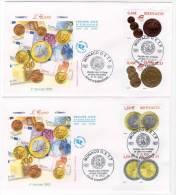 FDC - MONACO - 2002 - N° 2356/9 - PIECES DE MONNAIES - FDC