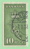 """DEN SC #B3  1929 Crown And Staff Of Aesculapius """"2-7-32"""", CV $7.00 (I) - 1913-47 (Christian X)"""
