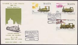 Malta 1983 FDC Railway, Railways, Train, Trains, First Day Cover - Malta