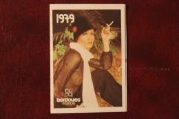 petit calendrier   cordoba 1979 plublicitaire  jeune femme  offert par  jacques portret  coiffeur a forges les eaux