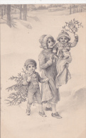 CPA Enfants Fillette Garçonnet Houx Sapin Paysage Enneigé M.M. VIenne N° 278 Viennoise - Femmes