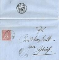 Faltbrief  Schwyz - Zürich                 1870 - 1862-1881 Helvetia Seduta (dentellati)