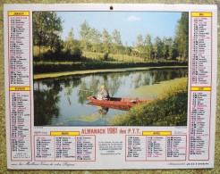 -- ALMANACH 1981 DES P.T.T. LAVIGNE - DOUBLE FACE - LA PECHE et LA CHASSE --
