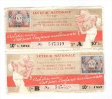 Billet Loterie Nationale - 1942 - Pour L´enfance Malheureuse - La Nouvelle étoile Des Petits Enfants De France - Billets De Loterie