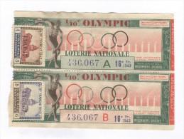 Billet Loterie Nationale - 1/10 Olympic - 16ème Tranche 1943 A Et B - Billets De Loterie