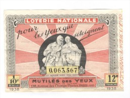 Billet Loterie Nationale - Pour Les Yeux Qui S´éteignent - 12ème Tranche 1938 - Billets De Loterie
