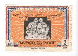 Billet Loterie Nationale - Pour Les Yeux Qui S´éteignent - 2ème Tranche 1938 - Billets De Loterie