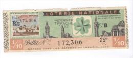 Billet Loterie Nationale - Dixième - Trèfle à 4 Feuilles - 25ème Tranche 1952 - Billets De Loterie