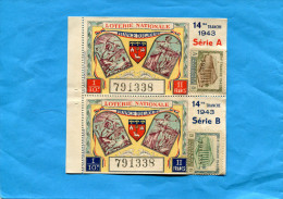 """LOTERIE NATIONALE -2 Billets 14 ème Tranche -1943""""Françe Toujours"""" Illustré-mineur En Galerie-paysanne - Billets De Loterie"""