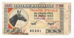 Billet Loterie Nationale - Tranche Spéciale Du Grand Prix De Paris 1936 - 9ème Série - Billets De Loterie