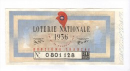 Billet Loterie Nationale - 1936 - 12ème Tranche - Billetes De Lotería