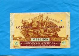 """LOTERIE NATIONALE - Billet 2 ème Tranche -1938 """"les Gueules Cassées""""sourire Quand Même - Billets De Loterie"""