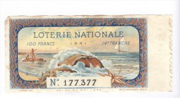 Billet Loterie Nationale - 1941 - 14ème Tranche - Billets De Loterie