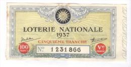 Billet Loterie Nationale - 1937 - 5ème Tranche - Billets De Loterie
