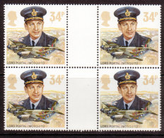 GB 1986  History Of The Royal Air Force Gutter Pairs (Block 4 Stamps) MNH SG. 1340 - Blocks & Miniature Sheets
