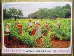 -- ALMANACH DES P.T.T. 1971 OLLER - DOUBLE FACE - VIGNOBLE DE PROVENCE et LE CROISIC (Loire Atlantique)
