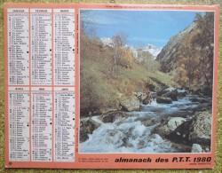 -- ALMANACH DES P.T.T. 1980  OLLER -  DOUBLE FACE - LE VALJOUFFREY (Is�re) - GIVRE SUR LES BOULEAUX  --
