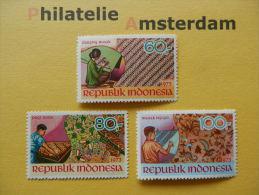 Indonesia 1973, ARTS AND CULTURE / BATIK / TEXTILE: Mi 740-42, **