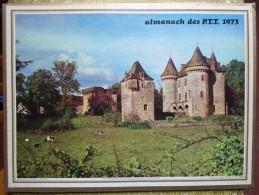 -- ALMANACH DES P.T.T. 1973  OLLER -  DOUBLE FACE - CH�TEAU DE LA ROCHE-VINEUSE (Saone et Loire)- LES ISSAMBRES (Var) --