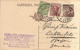 LD-1260         1932  + AFFR SUPPLEMENTAIRE    BOLZANO    FERROVIA         VERS     BAYERN   GERMANIA - Entero Postal