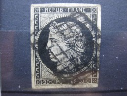 N°3, 20c Noir Sur Jaune, Oblitéré Grille Noire, Cérès 1849 - 1849-1850 Ceres