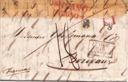 1834. LETTRE MILANO. ENTREE ITALIE PAR ANTIBES. . TAXE PLUME 18. L1 S 8   / 7155 - Storia Postale