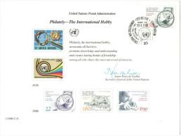 ONU - NAZIONI UNITE - UNITED NATIONS - NATIONS UNIES - 1986 - Souvenir Card - Philately, The International Hobby - Ge... - FDC