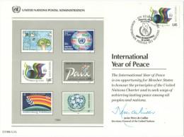 ONU - NAZIONI UNITE - UNITED NATIONS - NATIONS UNIES - 1986 - Souvenir Card - International Year Of Peace - Genève - FDC - FDC