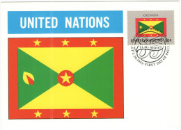 ONU - NAZIONI UNITE - UNITED NATIONS - NATIONS UNIES - 1985 - Flag Series, Grenada - New York - FDC - New York - Sede Centrale Delle NU