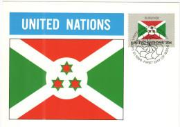 ONU - NAZIONI UNITE - UNITED NATIONS - NATIONS UNIES - 1984 - Flag Series, Burundi - New York - FDC - New York - Sede Centrale Delle NU