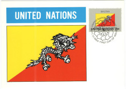 ONU - NAZIONI UNITE - UNITED NATIONS - NATIONS UNIES - 1984 - Flag Series, Bhutan - New York - FDC - New York - Sede Centrale Delle NU