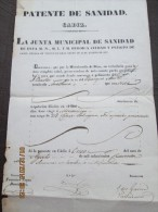 CADIZ - 1840  PATENTE DE SANIDAD Para Barco ARETHUSA Con 11 Tripulantes En Viaje A MONTEVIDEO - Documentos Históricos