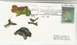 DESERT WILDLIFE EVENT COVER With HUMMINGBIRD, TORTOISE , BIRD Label , MINERALS Stamps USA  Crystal Tuscon Arizona - Reptiles & Amphibians