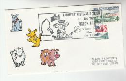 1993 FARMERS FESTIVAL EVENT COVER Pmk Illus COW  Usa Stamps Pig Sheep - Farm