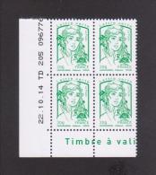 FRANCE / Coin Daté / Y&T N° 4774 / 2014/10/22 / TD 205 / Marianne De Ciappa TVP Lettre Verte 20g - 2010-....