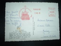 CP TOUR EIFFEL + EMA K 0647 à 20 Du 2 JUIL 60 PARIS VII SOUVENIR DU SOMMET DE LA TOUR EIFEL - Monuments