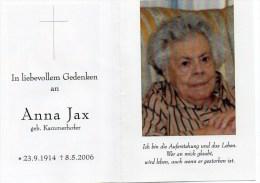 Sterbebildchen Von Anna Jax Geb. Kammerlander 23. 9. 1914 - 8. 5. 2006