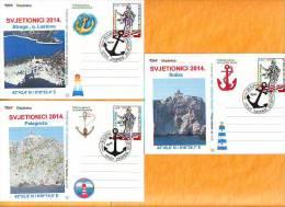 Croatia 2014 Y Postcard Overprint Lighthouses  Postmark Zagreb 30.05. - Croatia