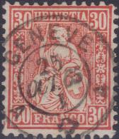 Heimat GE GENEVE A A 1865-10-25 Voll-Stempel Auf 30Rp.rot Sitzende Helvetia Zu#33 - 1862-1881 Helvetia Assise (dentelés)