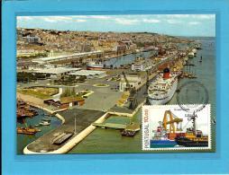 LISBOA - PORTO PORT HARBOUR - Vista Parcial - 75 ANOS Da AGPL - 05.01.1983 - PORTUGAL - CARTE MAXIMUM - MAXICARD - Maximumkaarten