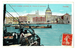 CPA Royaume-Uni Angleterre London River Thames London St Paul In Distance - River Thames