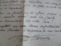 Lettre à En Tête Et LAS Autographe De Pierre Thomas Auteur Dramatique Chansonnier . Paris 1924 - Autographes